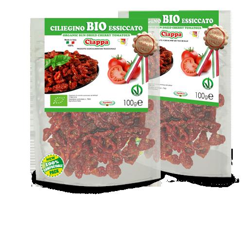 pomodorini ciliegini bio in doypack 100% compostabile - essiccato al sole