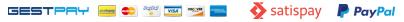 Pagamenti sicuri con carte di credito con Gestpay, pagamenti con Paypal, satispay e bonifico bancario