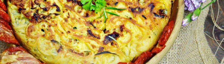 Frittata di pasta senza uova (con pomodori secchi bio)