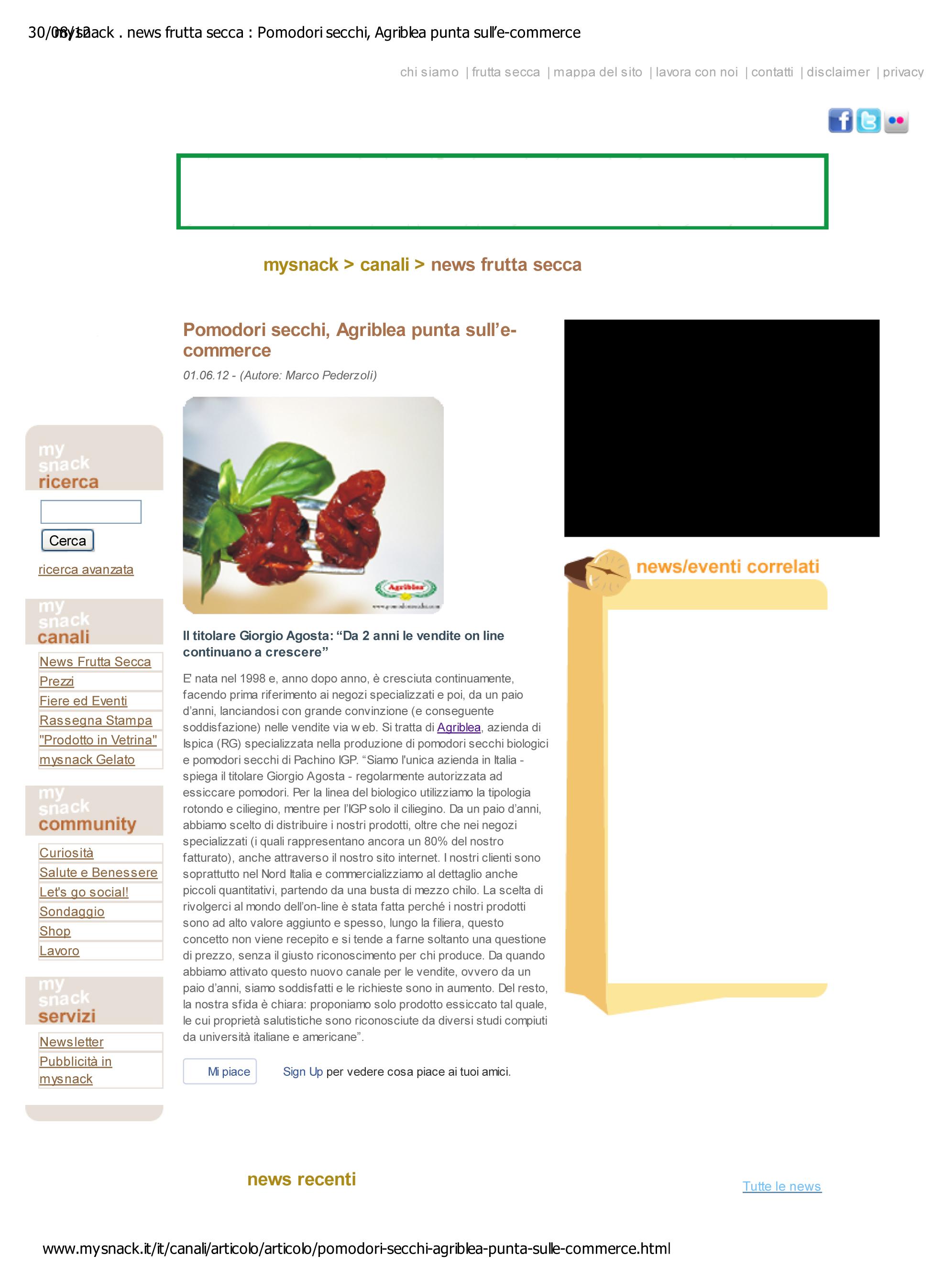 Pomodori secchi, l'e-commerce cresce