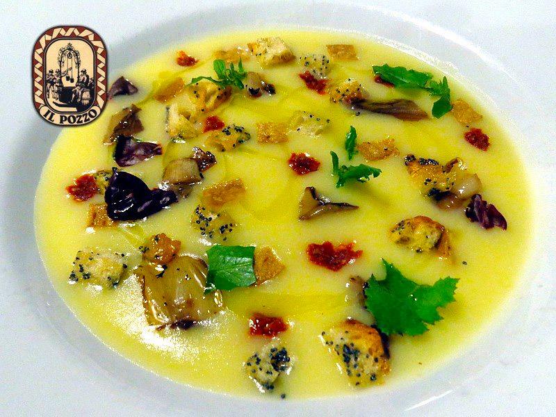 Crema di patate e porri con radicchio grigliato e pomodori secchi capuliato agriblea
