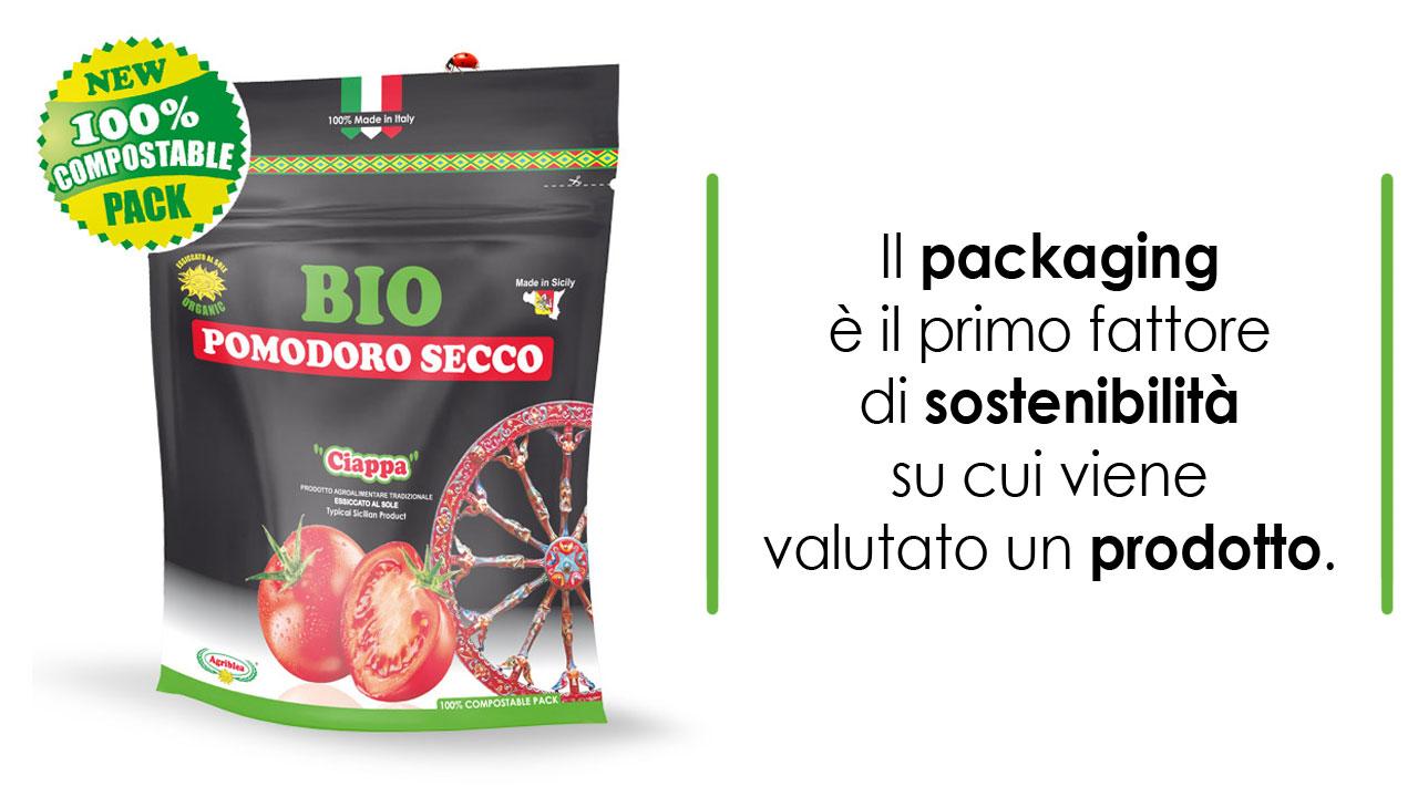 Confezioni compostabili biodegradabili pomodori secchi