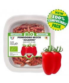 julienne di pomodori secchi bio in vassoio biodegradabile compostabile da 150 g