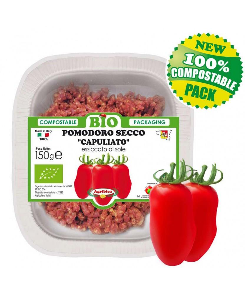 Capuliato di pomodori secchi bio TRITATI in vassoio biodegradabile compostabile da 150 g