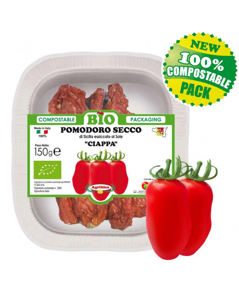 CIAPPA:  sun dried tomatoes from organic farming, Biodegradable and Compostable Tray 150 g