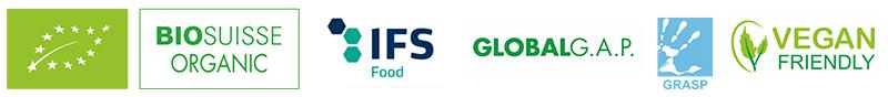 Certificazioni dei pomodori secchi: BIOLOGICO, BIOSUISSE ORGANIC, IFS Food, Globalgap, Grasp