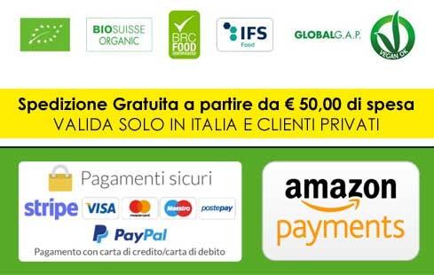 Pagamenti sicuri con carte di credito, paypal, amazon pay e bonifico bancario