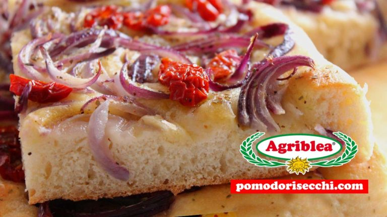 Pizza / Focaccia con cipolla rossa e Pomodorini Secchi