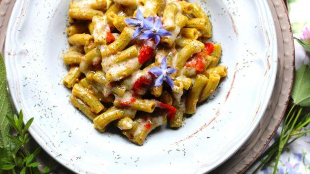 Sedanini di piselli alla crema di ciliegini secchi e olive con fonduta al miele