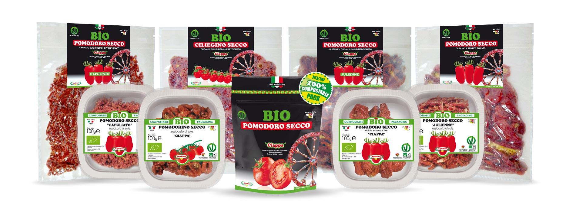 Pomodori BIO di Sicilia essiccati al Sole in buste 100% compostabili biodegradabili