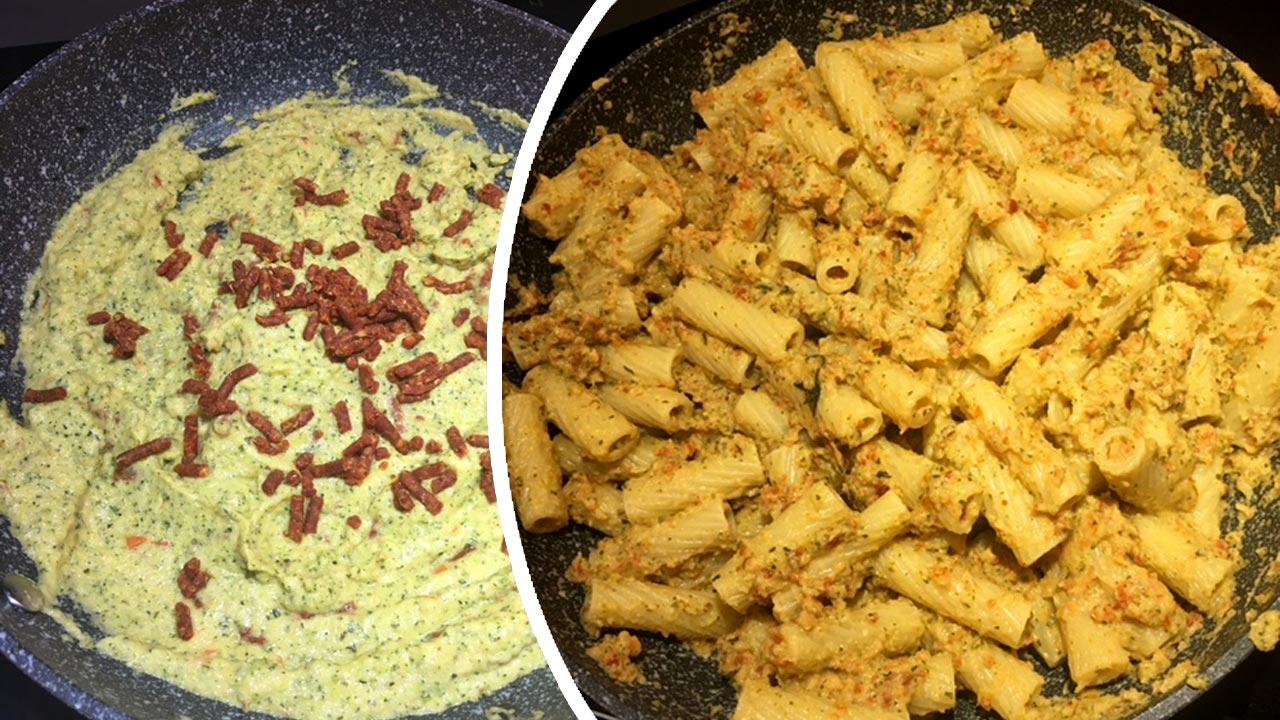 Tortiglioni con capuliato e pesto di zucchine