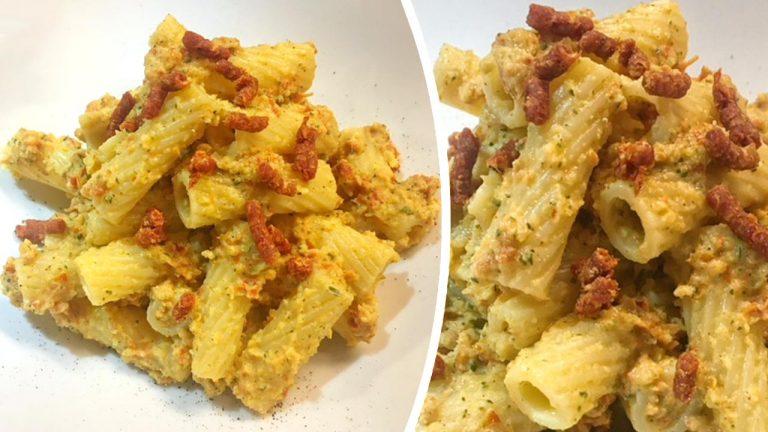 Tortiglioni con pesto di zucchine e Capuliato Bio