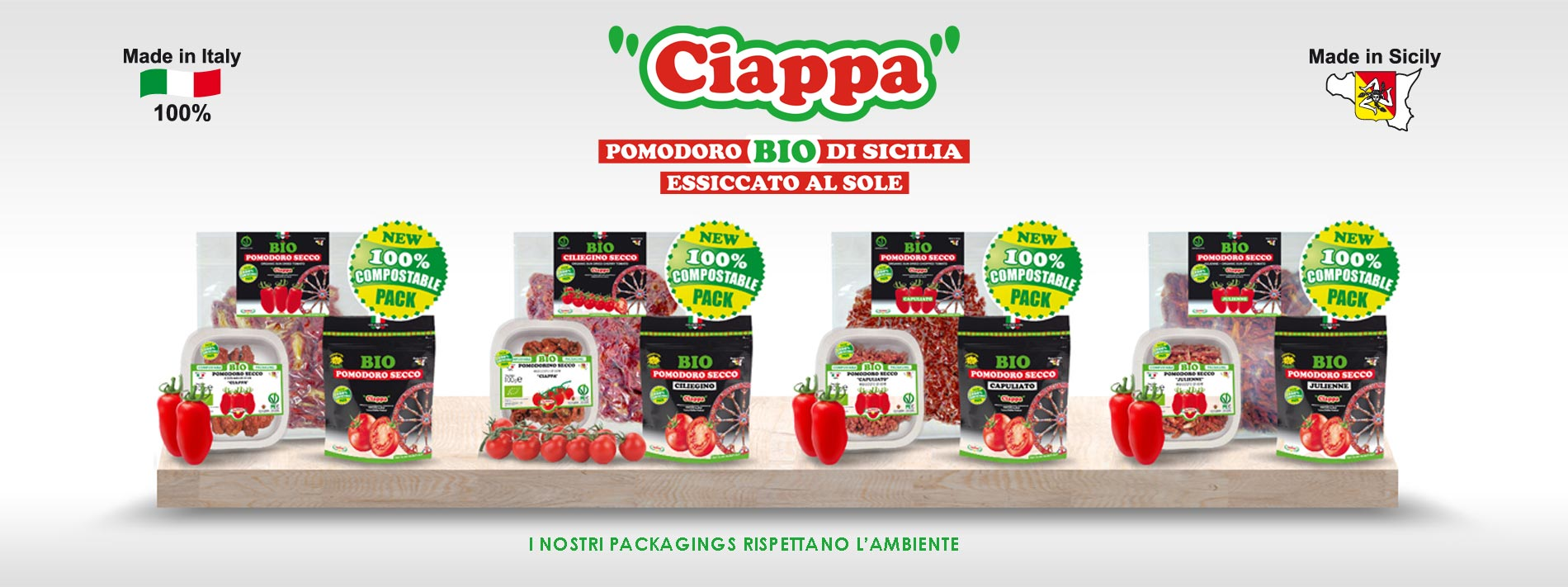 Pomodori BIO di Sicilia essiccati al Sole nelle nuove confezioni compostabili biodegradabili