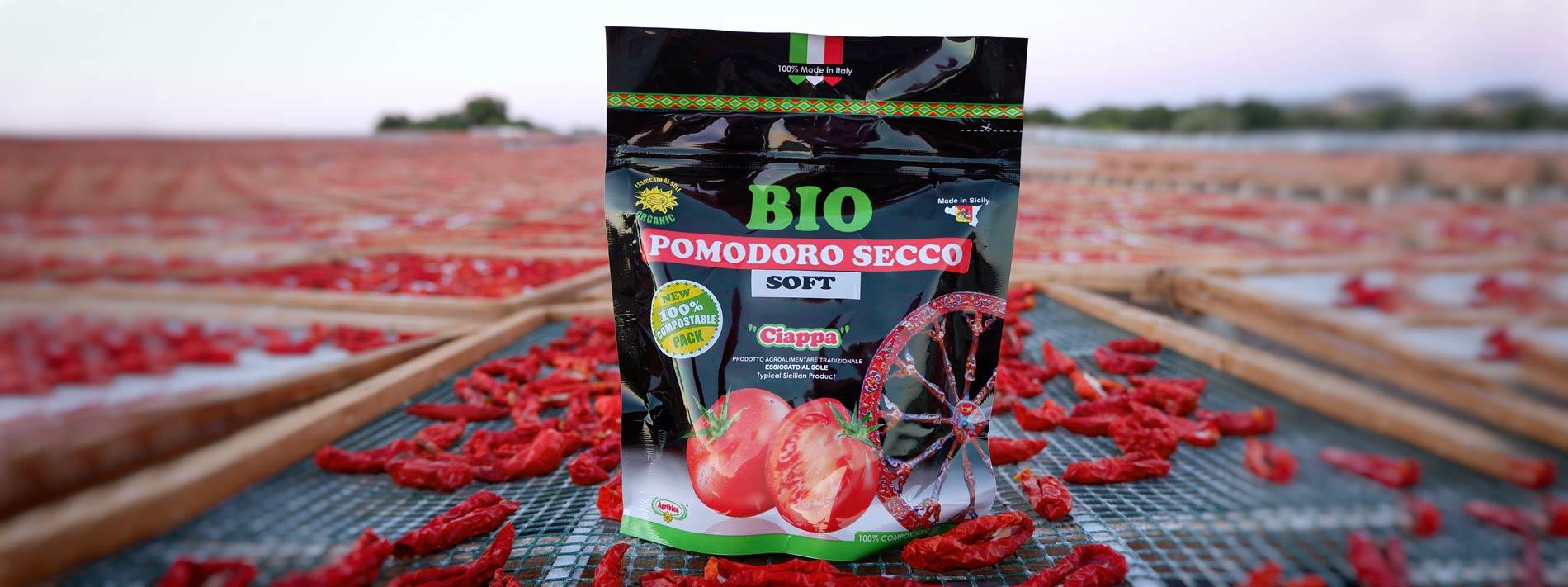 Pomodori Bio di Sicilia essiccati al sole - gamma prodotti compostabili