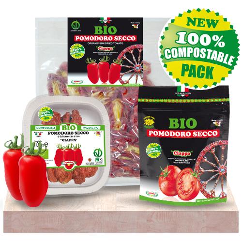 CIAPPA di Pomodoro Secco BIO prodotti ed essiccati al sole in Sicilia - CONFEZIONE COMPOSTABILE BIODEGRADABILE