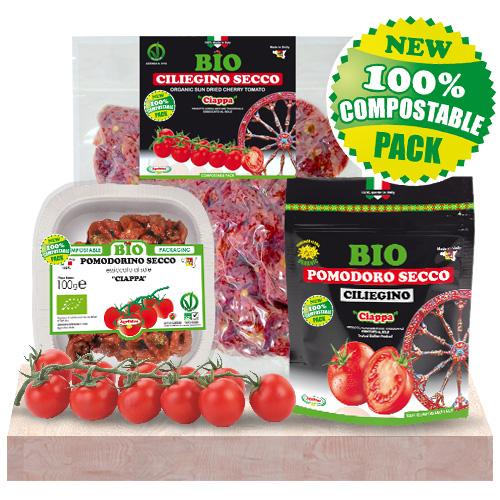 Pomodorini Ciliegini Secchi Bio prodotti ed essiccati al sole in Sicilia - CONFEZIONE COMPOSTABILE BIODEGRADABILE