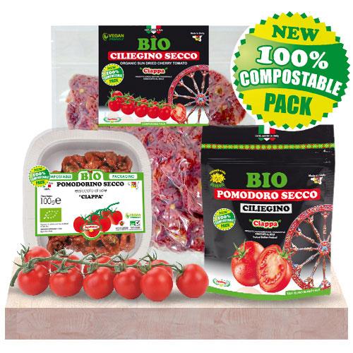Pomodorini Ciliegini Secchi Bio prodotti ed essiccati al sole in Sicilia - Confezioni 100% Compostabile biodegradabile