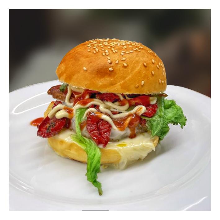 Hamburger di manzo con pomodori secchi bio