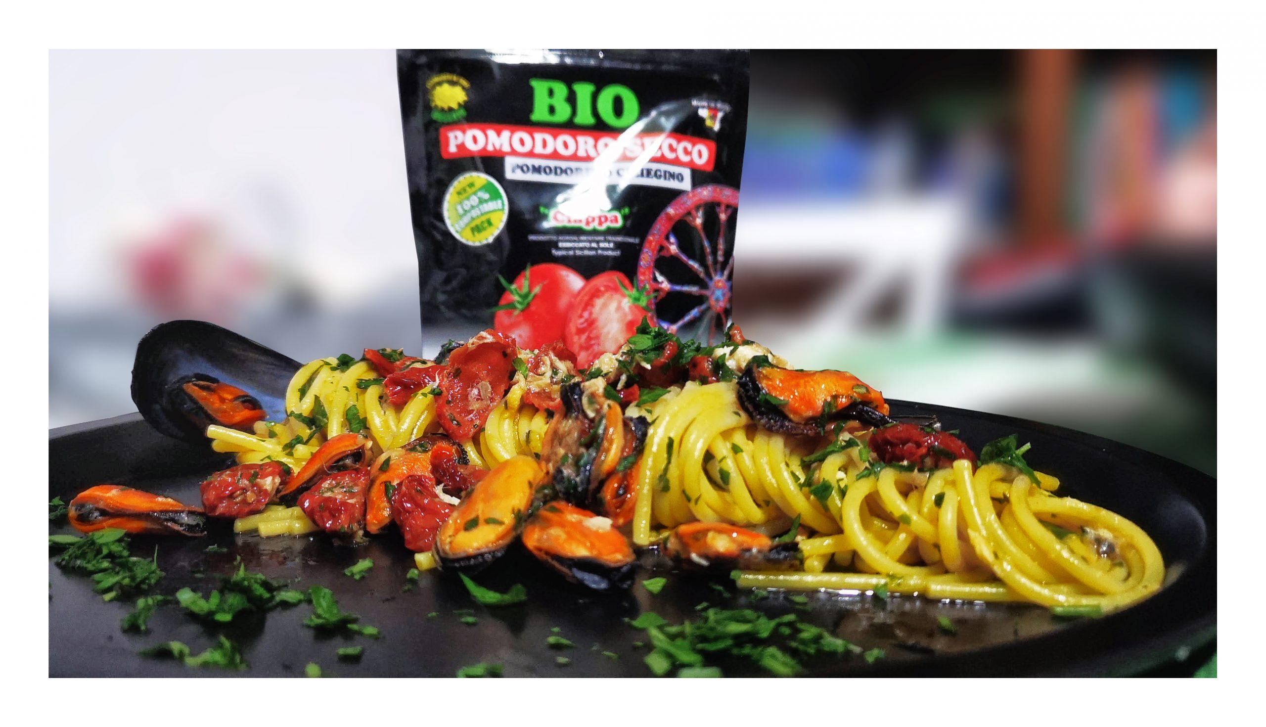 Spaghetti con pomodorino secco bio e cozze